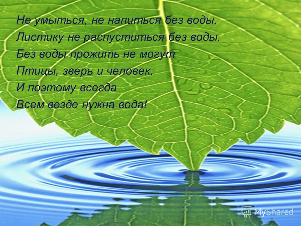 Не умыться, не напиться без воды, Листику не распуститься без воды. Без воды прожить не могут Птицы, зверь и человек, И поэтому всегда Всем везде нужна вода!