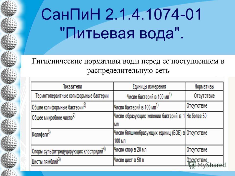 СанПиН 2.1.4.1074-01 Питьевая вода. Гигиенические нормативы воды перед ее поступлением в распределительную сеть