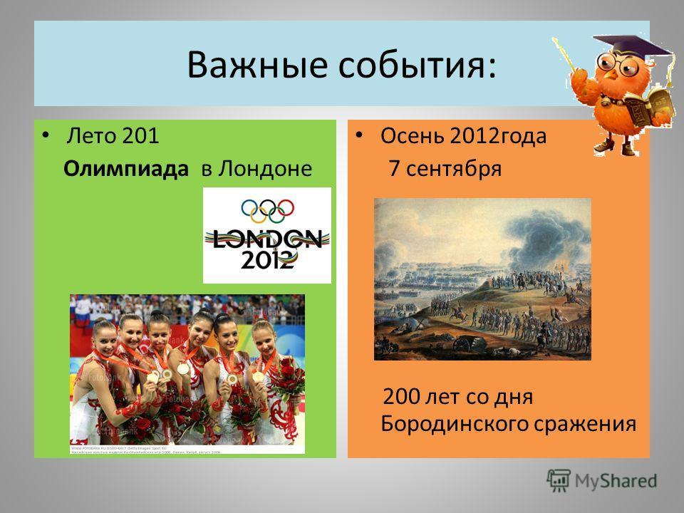 Важные события: Лето 201 Олимпиада в Лондоне Осень 2012года 7 сентября 200 лет со дня Бородинского сражения