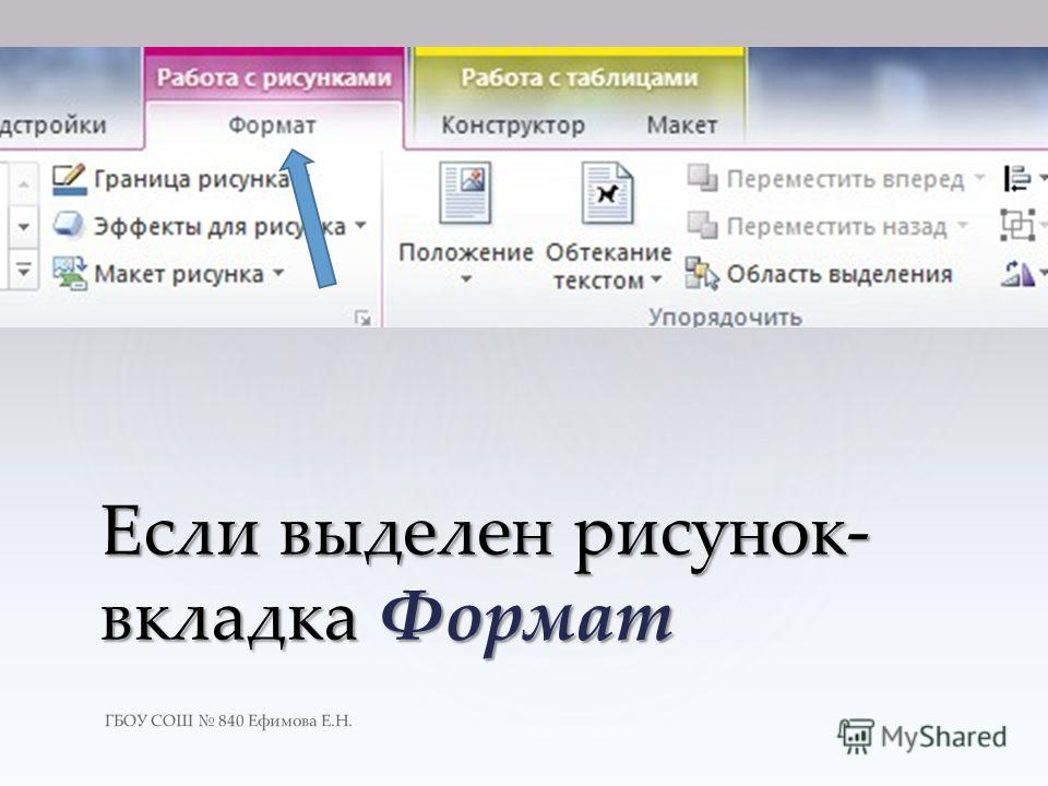 Если выделен рисунок- вкладка Формат ГБОУ СОШ 840 Ефимова Е.Н.