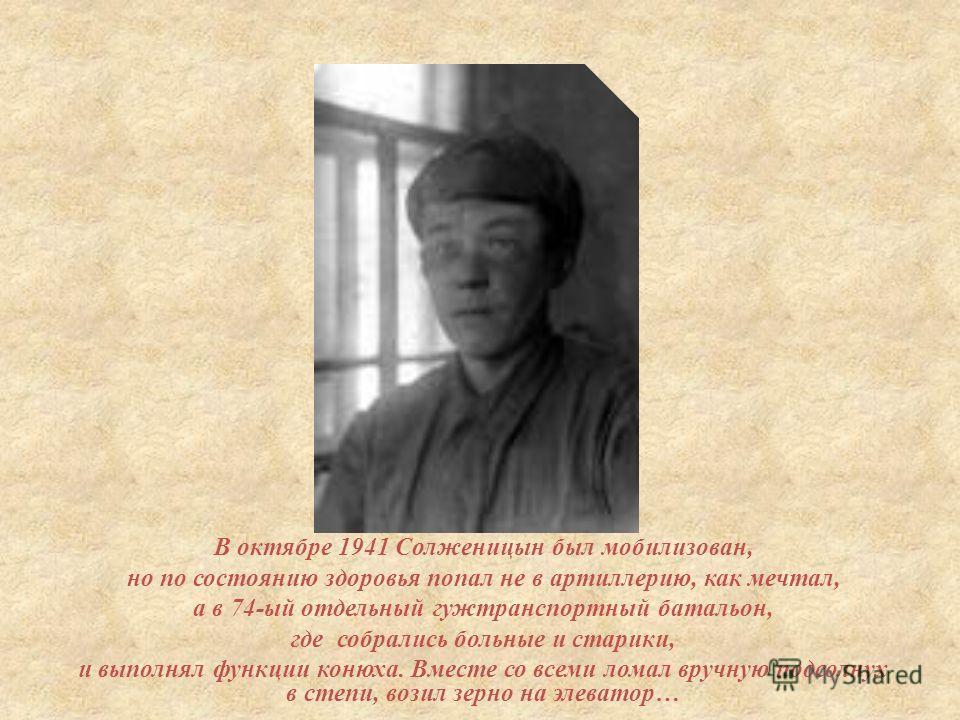 В октябре 1941 Солженицын был мобилизован, но по состоянию здоровья попал не в артиллерию, как мечтал, а в 74- ый отдельный гужтранспортный батальон, где собрались больные и старики, и выполнял функции конюха. Вместе со всеми ломал вручную подсолнух