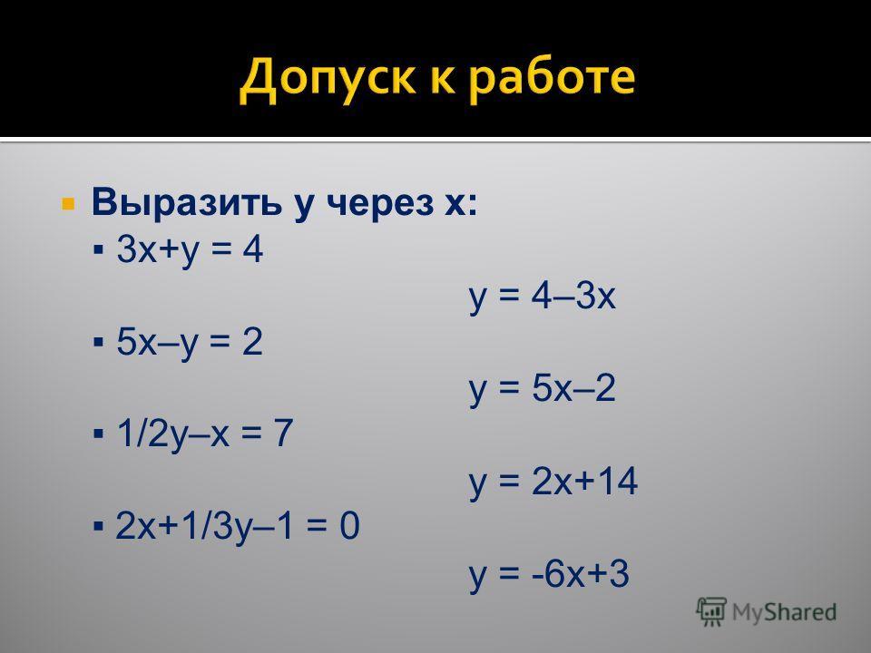 Выразить y через x: 3x+y = 4 y = 4–3x 5x–y = 2 y = 5x–2 1/2y–x = 7 y = 2x+14 2x+1/3y–1 = 0 y = -6x+3
