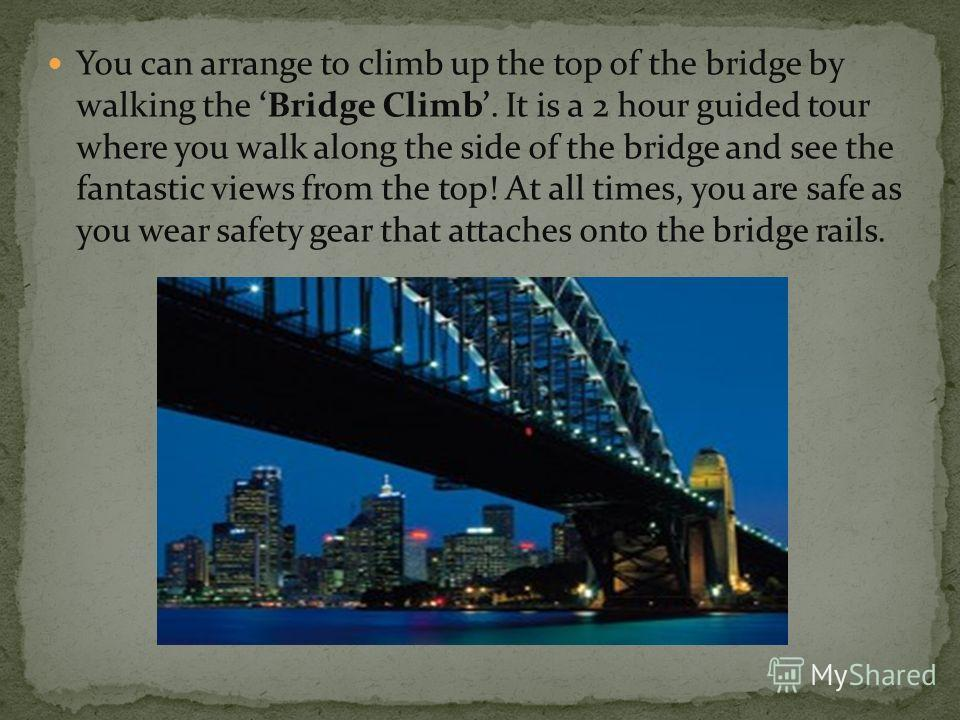 You can arrange to climb up the top of the bridge by walking the Bridge Climb. It is a 2 hour guided tour where you walk along the side of the bridge and see the fantastic views from the top! At all times, you are safe as you wear safety gear that at