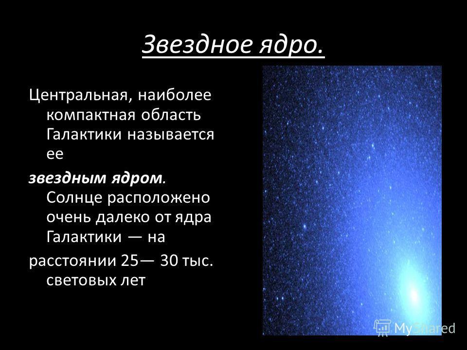 Звездное ядро. Центральная, наиболее компактная область Галактики называется ее звездным ядром. Солнце расположено очень далеко от ядра Галактики на расстоянии 25 30 тыс. световых лет