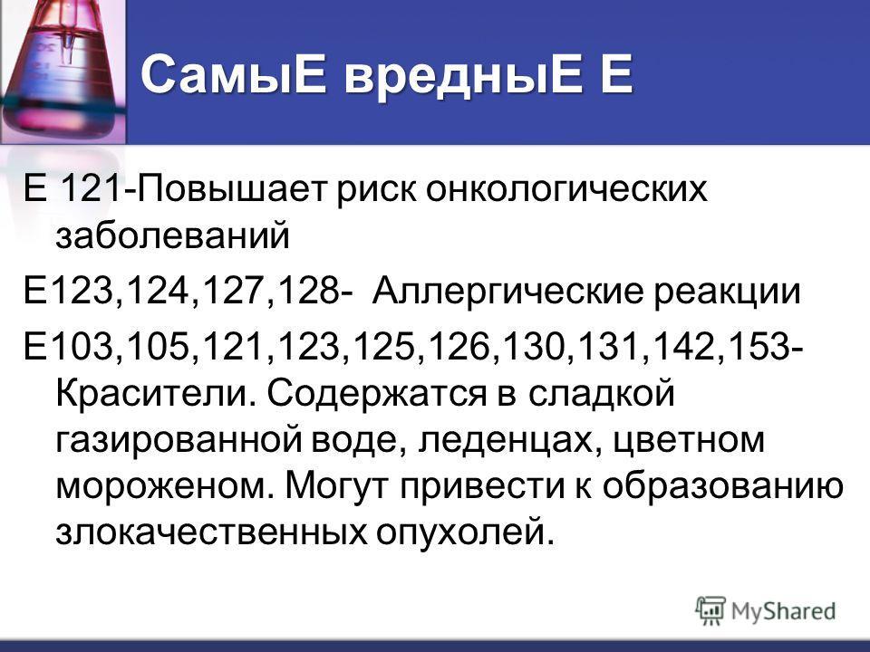 СамыЕвредныЕ Е СамыЕ вредныЕ Е Е 121-Повышает риск онкологических заболеваний Е123,124,127,128- Аллергические реакции Е103,105,121,123,125,126,130,131,142,153- Красители. Содержатся в сладкой газированной воде, леденцах, цветном мороженом. Могут прив