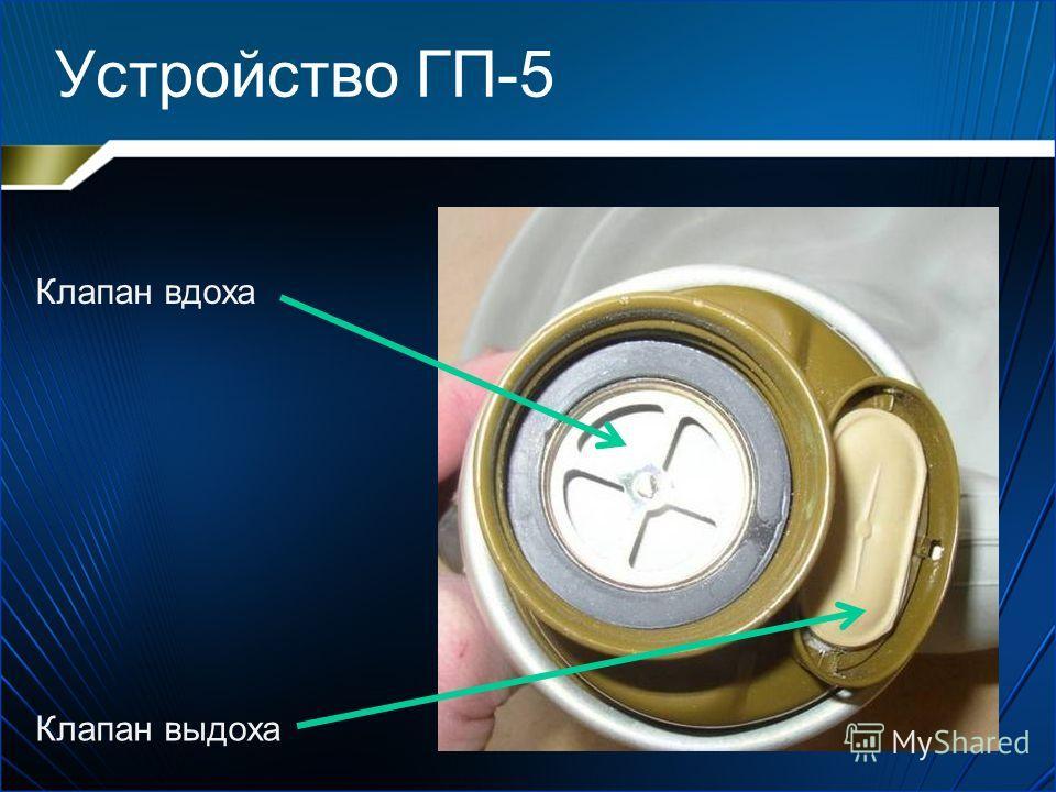 Устройство ГП-5 (Гражданский противогаз) 1.Фильтрующе- поглощающая коробка 2.Клапанная коробка 3.Шлем-маска с очками
