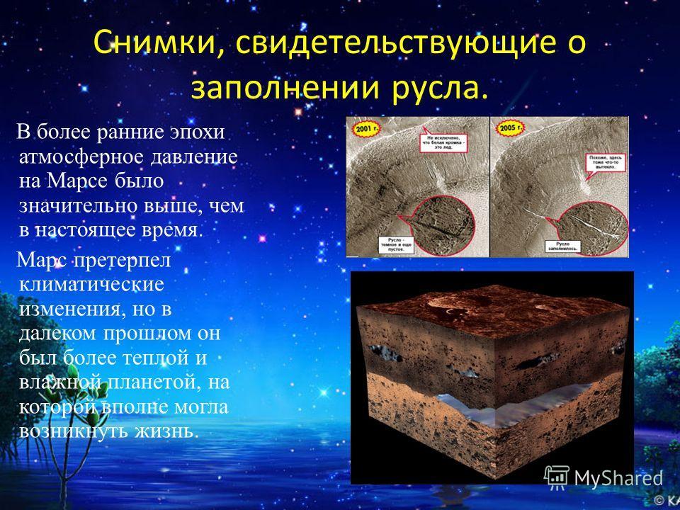 Снимки, свидетельствующие о заполнении русла. В более ранние эпохи атмосферное давление на Марсе было значительно выше, чем в настоящее время. Марс претерпел климатические изменения, но в далеком прошлом он был более теплой и влажной планетой, на кот