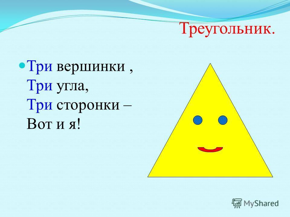 Треугольник. Три вершинки, Три угла, Три сторонки – Вот и я!