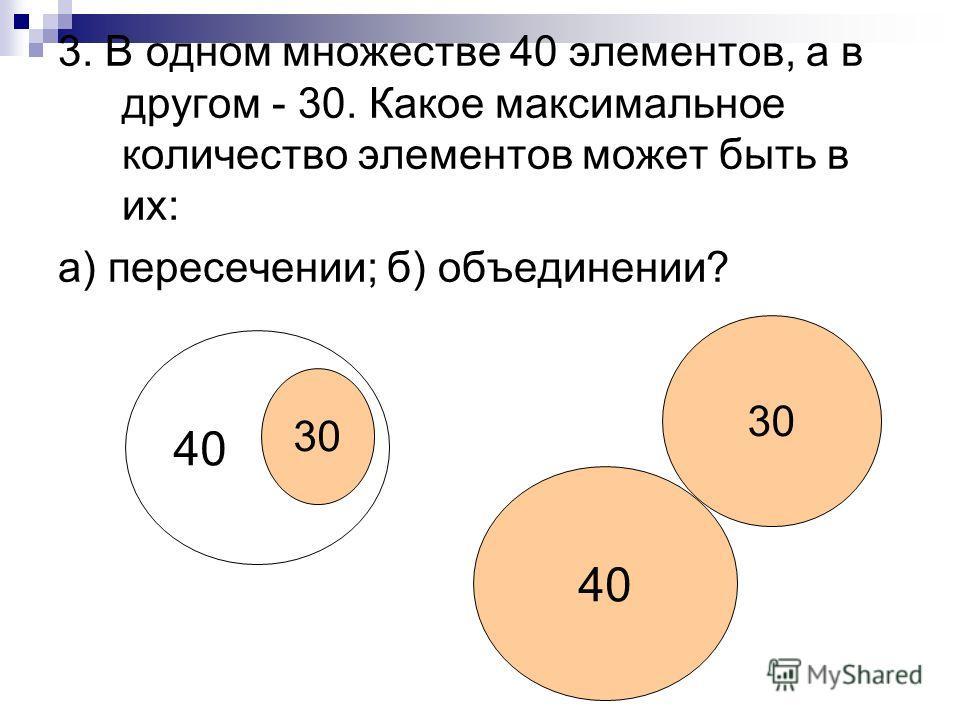 3. В одном множестве 40 элементов, а в другом - 30. Какое максимальное количество элементов может быть в их: а) пересечении; б) объединении? 40 30 40