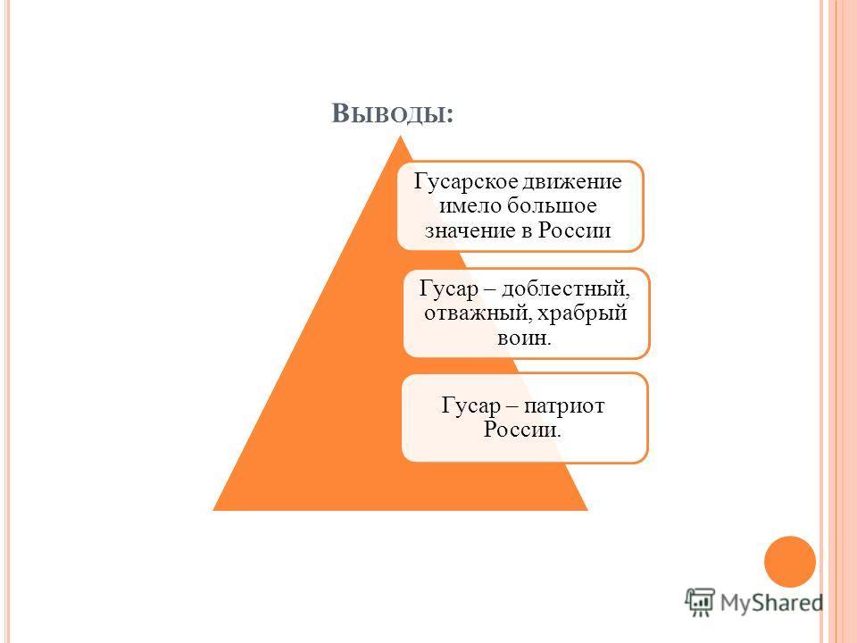 В ЫВОДЫ : Гусарское движение имело большое значение в России Гусар – доблестный, отважный, храбрый воин. Гусар – патриот России.