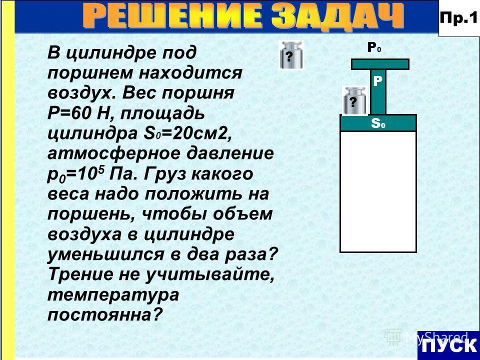 ПУСК Р S0S0 P0P0 ?? В цилиндре под поршнем находится воздух. Вес поршня Р=60 Н, площадь цилиндра S 0 =20см2, атмосферное давление р 0 =10 5 Па. Груз какого веса надо положить на поршень, чтобы объем воздуха в цилиндре уменьшился в два раза? Трение не
