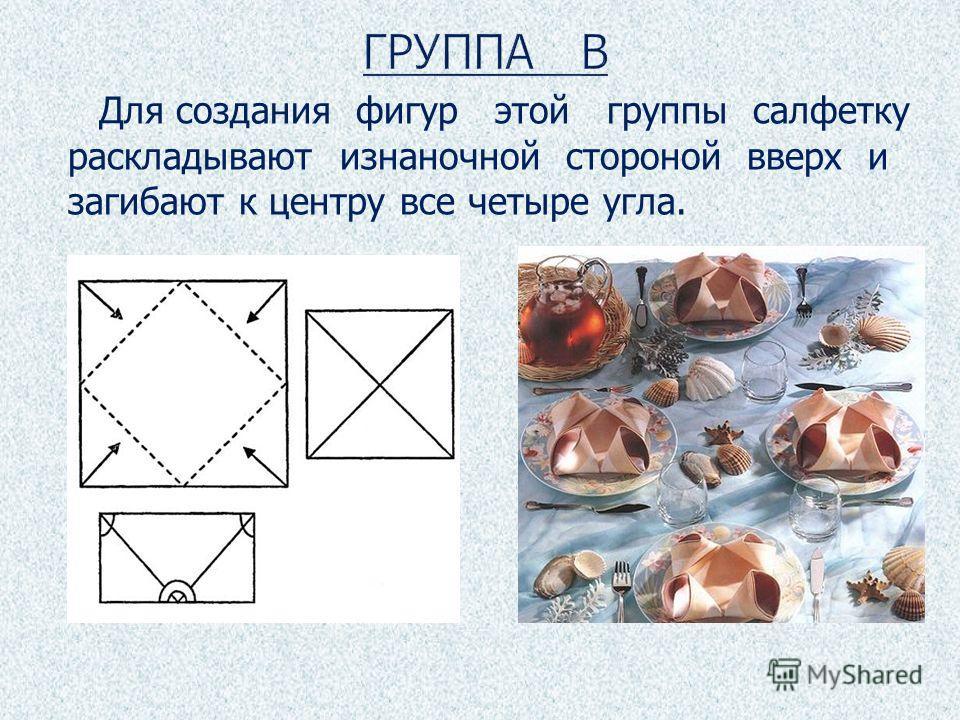 Для создания фигур этой группы салфетку раскладывают изнаночной стороной вверх и загибают к центру все четыре угла.