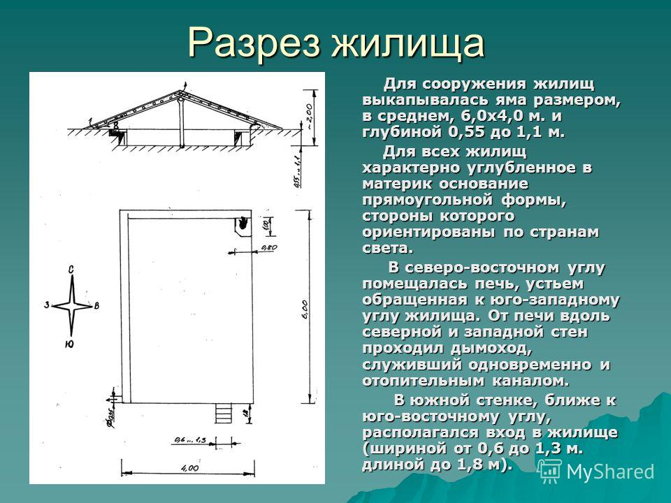 Разрез жилища Для сооружения жилищ выкапывалась яма размером, в среднем, 6,0x4,0 м. и глубиной 0,55 до 1,1 м. Для сооружения жилищ выкапывалась яма размером, в среднем, 6,0x4,0 м. и глубиной 0,55 до 1,1 м. Для всех жилищ характерно углубленное в мате