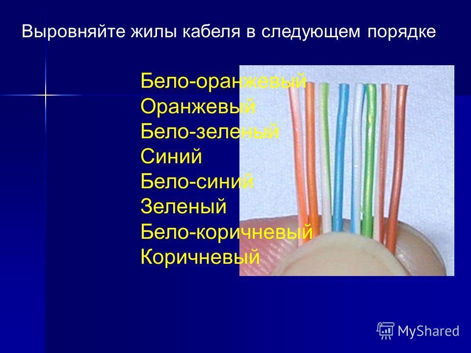Выровняйте жилы кабеля в следующем порядке Бело-оранжевый Оранжевый Бело-зеленый Синий Бело-синий Зеленый Бело-коричневый Коричневый