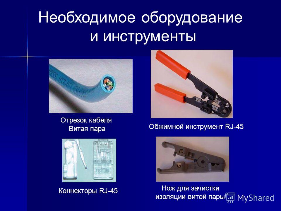 Необходимое оборудование и инструменты Отрезок кабеля Витая пара Обжимной инструмент RJ-45 Коннекторы RJ-45 Нож для зачистки изоляции витой пары