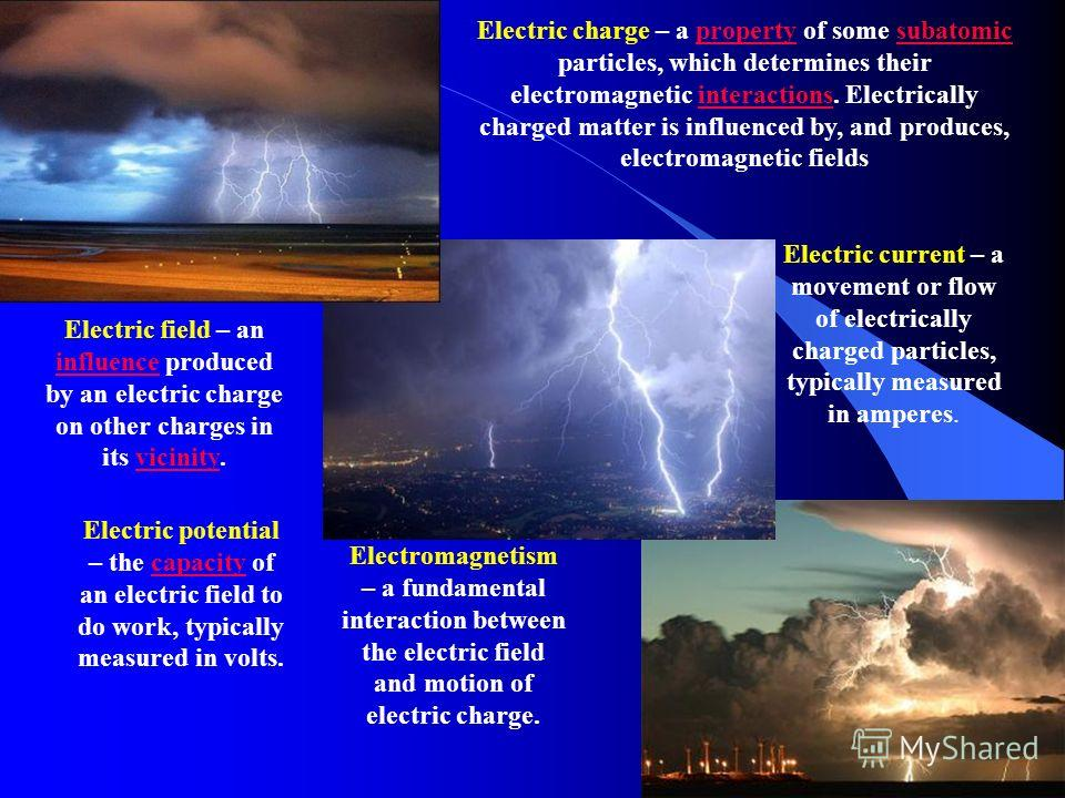 Electric charge – a property of some subatomic particles, which determines their electromagnetic interactions. Electrically charged matter is influenced by, and produces, electromagnetic fieldspropertysubatomicinteractions Electric current – a moveme