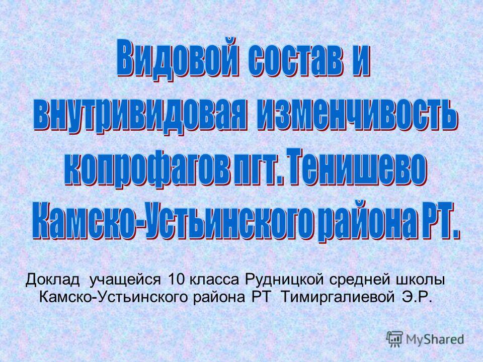 Доклад учащейся 10 класса Рудницкой средней школы Камско-Устьинского района РТ Тимиргалиевой Э.Р.