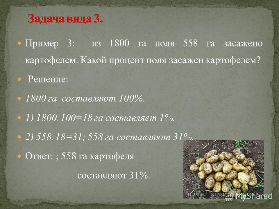 Пример 3: из 1800 га поля 558 га засажено картофелем. Какой процент поля засажен картофелем? Решение: 1800 га составляют 100%. 1) 1800:100=18 га составляет 1%. 2) 558:18=31; 558 га составляют 31%. Ответ: ; 558 га картофеля составляют 31%.