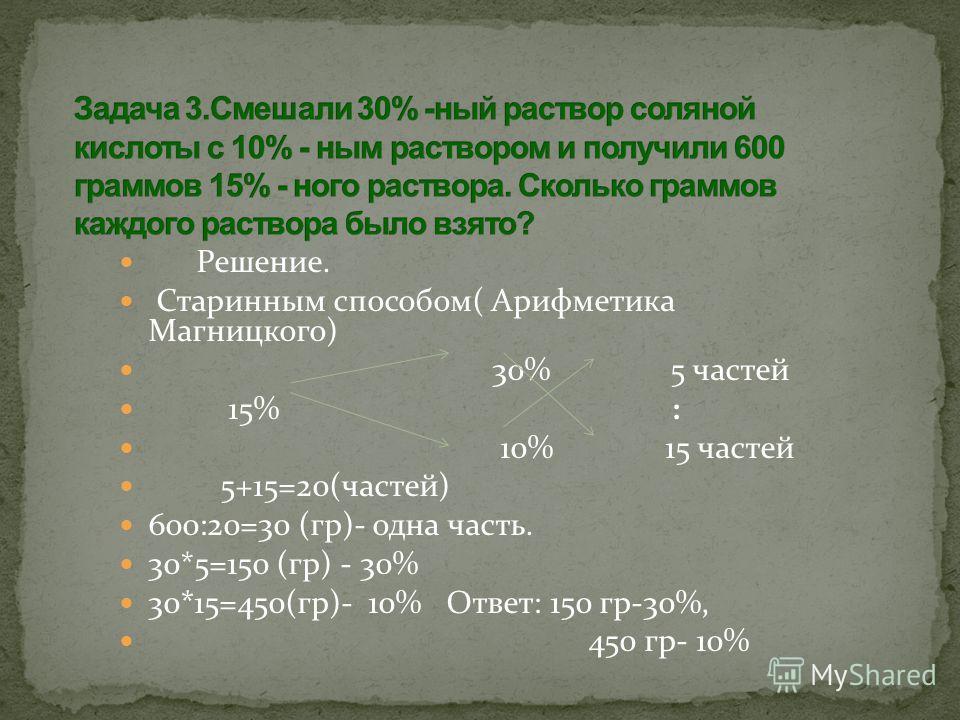 Решение. Старинным способом( Арифметика Магницкого) 30% 5 частей 15% : 10% 15 частей 5+15=20(частей) 600:20=30 (гр)- одна часть. 30*5=150 (гр) - 30% 30*15=450(гр)- 10% Ответ: 150 гр-30%, 450 гр- 10%