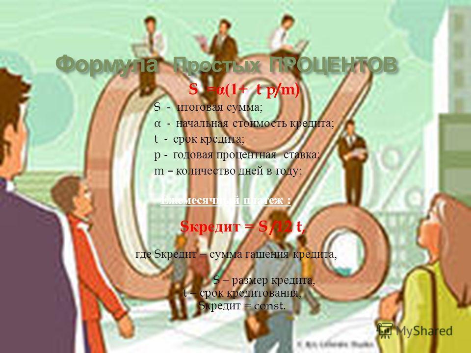 S =α(1+ t p/m) S - итоговая сумма; α - начальная стоимость кредита; t - срок кредита; p - годовая процентная ставка; m – количество дней в году; Ежемесячный платеж : S кредит = S /12 t, где S кредит – сумма гашения кредита, S – размер кредита, t – ср