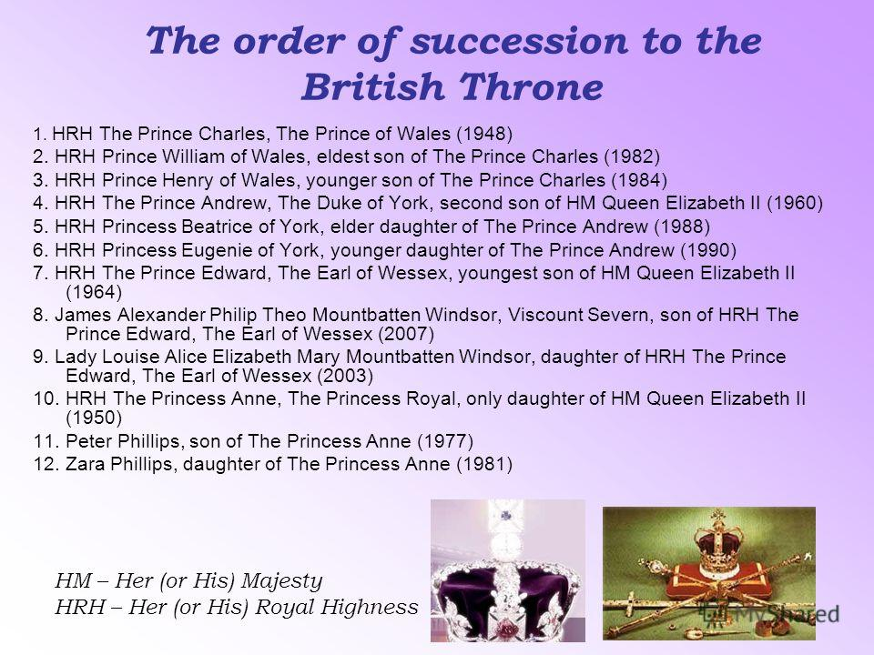 The order of succession to the British Throne 1. HRH The Prince Charles, The Prince of Wales (1948) 2. HRH Prince William of Wales, eldest son of The Prince Charles (1982) 3. HRH Prince Henry of Wales, younger son of The Prince Charles (1984) 4. HRH