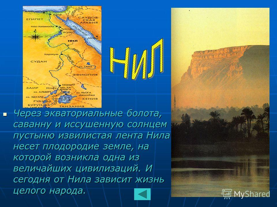 Через экваториальные болота, саванну и иссушенную солнцем пустыню извилистая лента Нила несет плодородие земле, на которой возникла одна из величайших цивилизаций. И сегодня от Нила зависит жизнь целого народа. Через экваториальные болота, саванну и