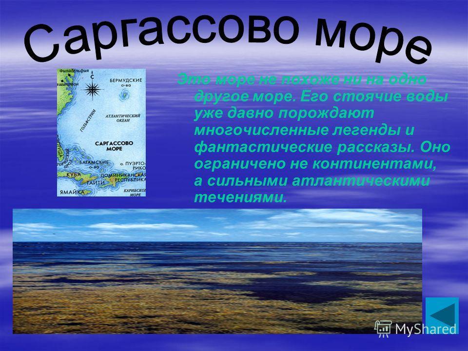 Это море не похоже ни на одно другое море. Его стоячие воды уже давно порождают многочисленные легенды и фантастические рассказы. Оно ограничено не континентами, а сильными атлантическими течениями.