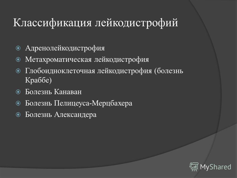 Классификация лейкодистрофий Адренолейкодистрофия Метахроматическая лейкодистрофия Глобоидноклеточная лейкодистрофия (болезнь Краббе) Болезнь Канаван Болезнь Пелицеуса-Мерцбахера Болезнь Александера