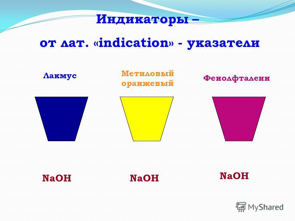Индикаторы – от лат. «indication» - указатели NaOH Лакмус Метиловый оранжевый Фенолфталеин