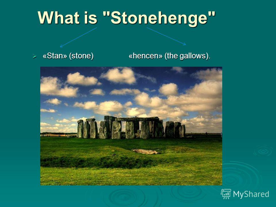 What is Stonehenge What is Stonehenge «Stan» (stone) «hencen» (the gallows). «Stan» (stone) «hencen» (the gallows).