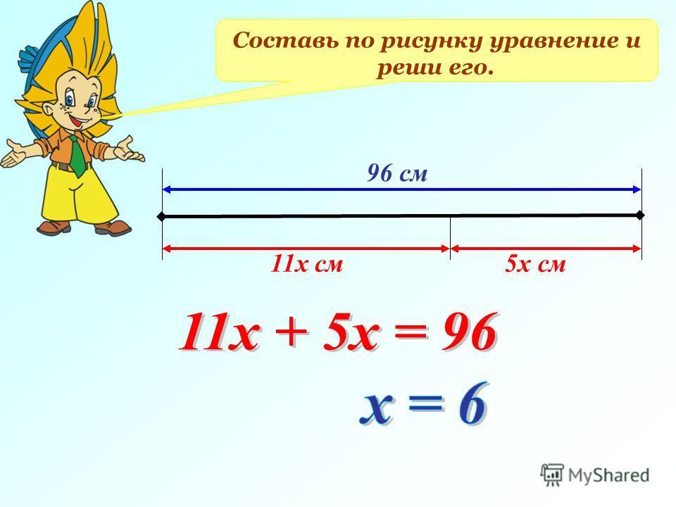 Составь по рисунку уравнение и реши его. 96 см 11х см5х см