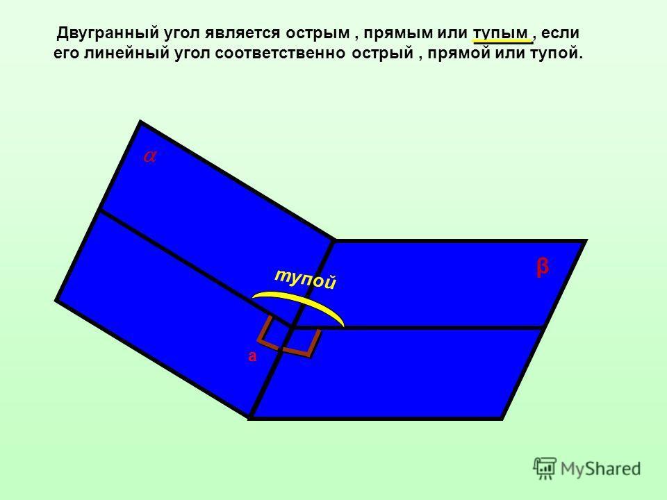 Двугранный угол является острым, прямым или тупым, если его линейный угол соответственно острый, прямой или тупой. а β тупой