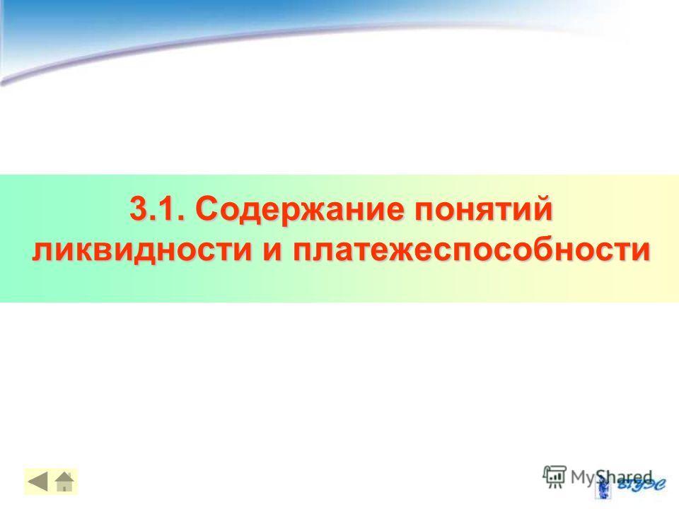 3.1. Содержание понятий ликвидности и платежеспособности 44