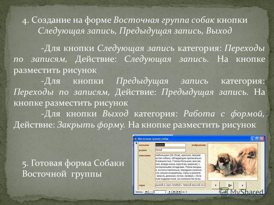 4. Создание на форме Восточная группа собак кнопки Следующая запись, Предыдущая запись, Выход -Для кнопки Следующая запись категория: Переходы по записям, Действие: Следующая запись. На кнопке разместить рисунок -Для кнопки Предыдущая запись категори
