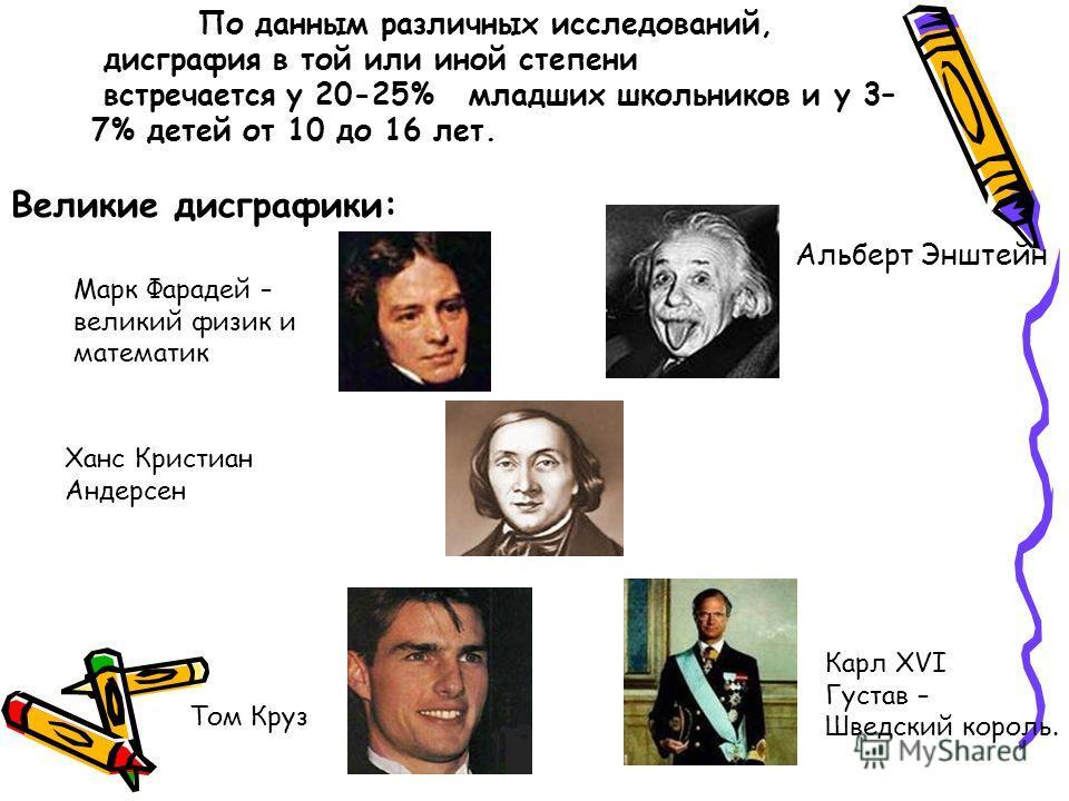Альберт Энштейн Великие дисграфики: Марк Фарадей – великий физик и математик Ханс Кристиан Андерсен Том Круз Карл XVI Густав – Шведский король. По данным различных исследований, дисграфия в той или иной степени встречается у 20-25% младших школьников