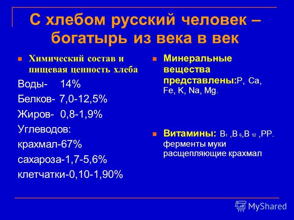 С хлебом русский человек – богатырь из века в век Химический состав и пищевая ценность хлеба Воды- 14% Белков- 7,0-12,5% Жиров- 0,8-1,9% Углеводов: крахмал-67% сахароза-1,7-5,6% клетчатки-0,10-1,90% Минеральные вещества представлены: P, Ca, Fe, K, Na
