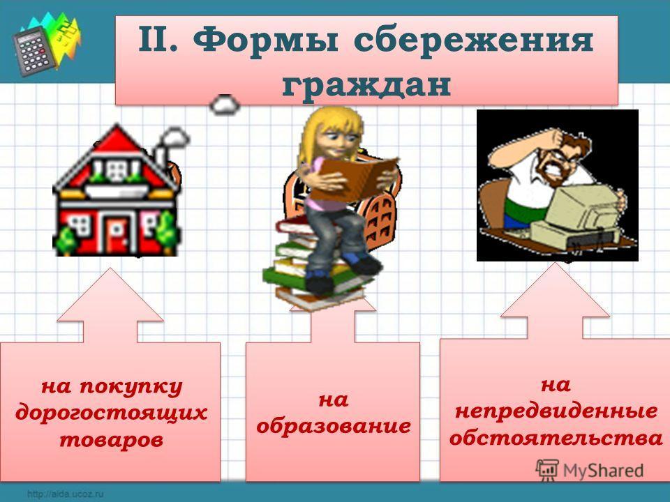 II. Формы сбережения граждан на покупку дорогостоящих товаров на образование на непредвиденные обстоятельства