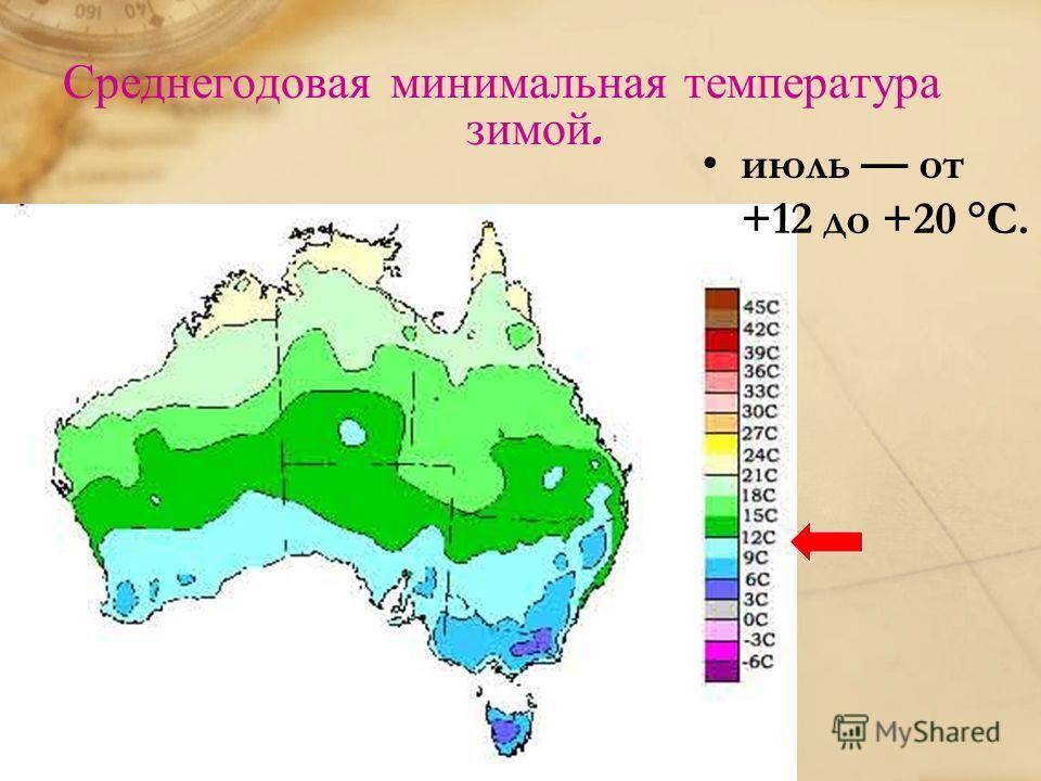 Среднегодовая минимальная температура зимой. июль от +12 до +20 °C.