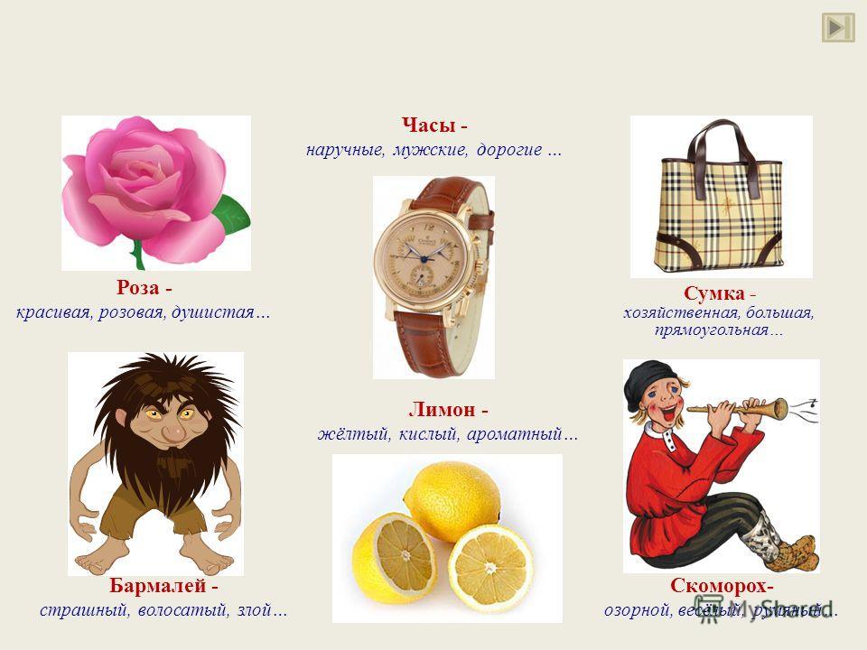 Роза - красивая, розовая, душистая… Сумка - хозяйственная, большая, прямоугольная… Часы - наручные, мужские, дорогие … Бармалей - страшный, волосатый, злой… Лимон - жёлтый, кислый, ароматный… Скоморох- озорной, весёлый, румяный…