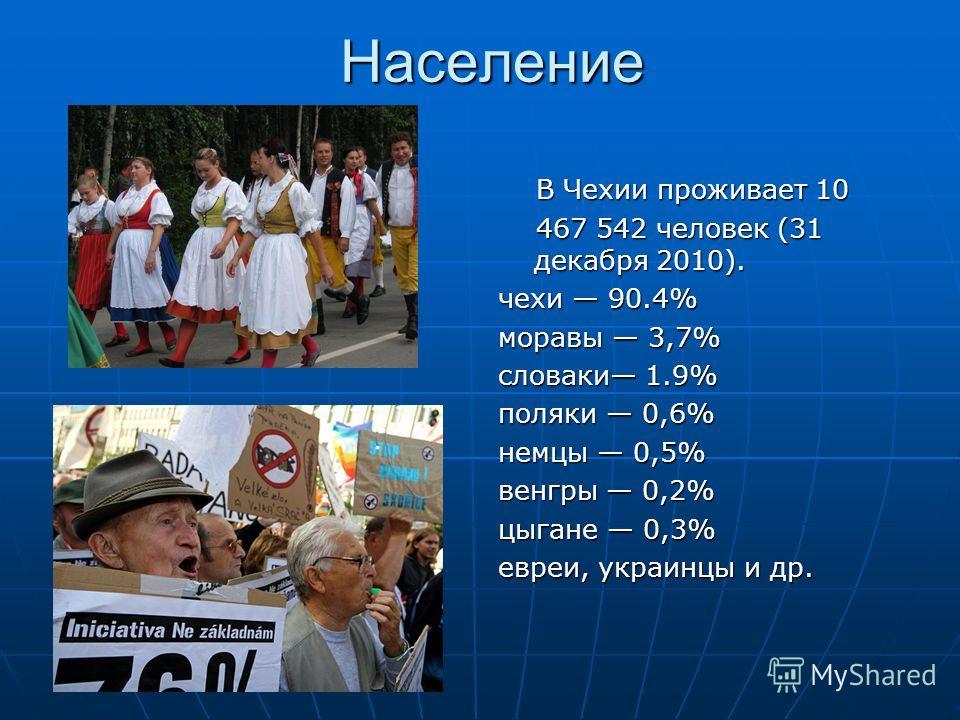 Население В Чехии проживает 10 В Чехии проживает 10 467 542 человек (31 декабря 2010). 467 542 человек (31 декабря 2010). чехи 90.4% моравы 3,7% словаки 1.9% поляки 0,6% немцы 0,5% венгры 0,2% цыгане 0,3% евреи, украинцы и др.