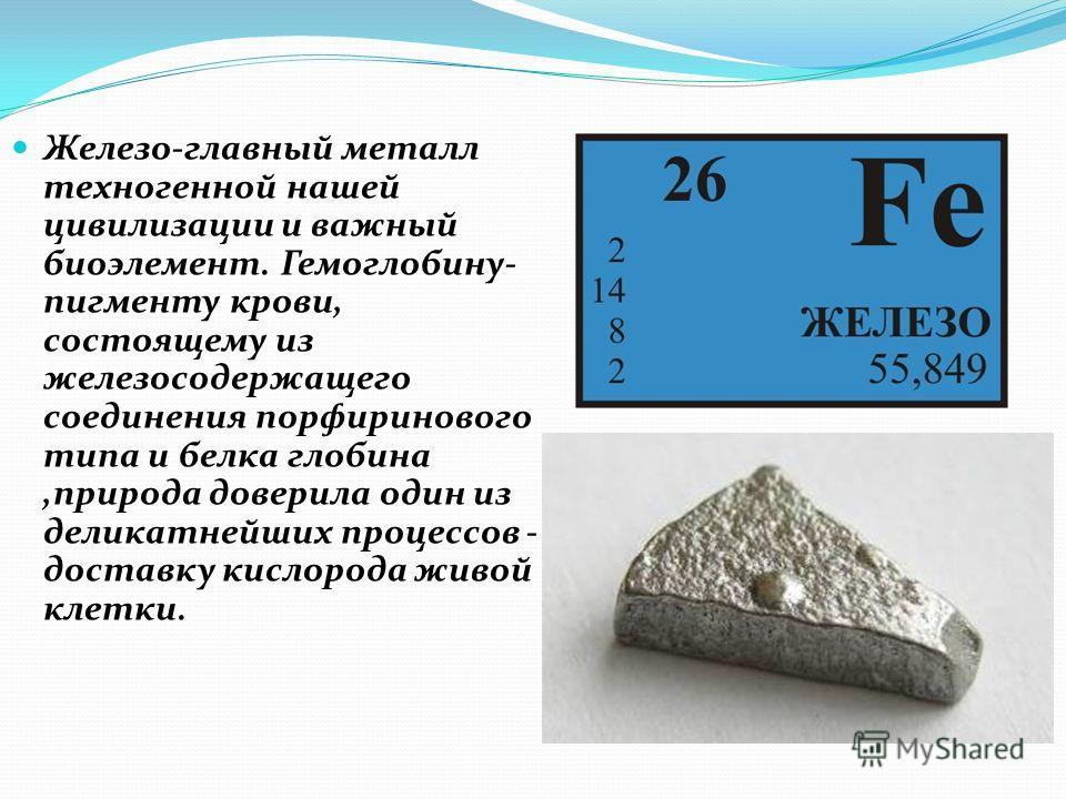 Железо-главный металл техногенной нашей цивилизации и важный биоэлемент. Гемоглобину- пигменту крови, состоящему из железосодержащего соединения порфиринового типа и белка глобина,природа доверила один из деликатнейших процессов - доставку кислорода