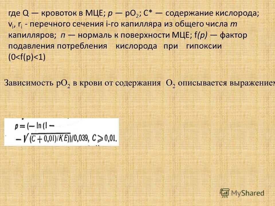 где Q кровоток в МЦЕ; р рО 2 ; С* содержание кислорода; v i, r i - перечного сечения i-го капилляра из общего числа т капилляров; п нормаль к поверхности МЦЕ; f(р) фактор подавления потребления кислорода при гипоксии (0