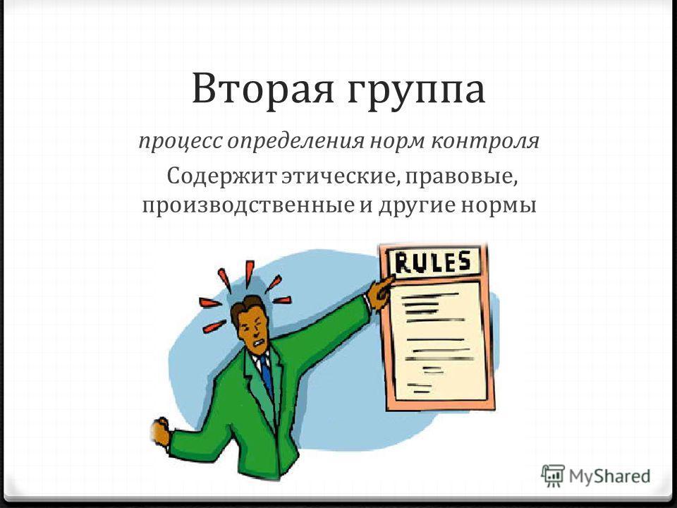 Вторая группа процесс определения норм контроля Содержит этические, правовые, производственные и другие нормы
