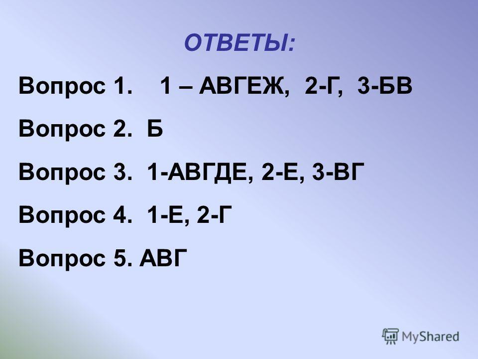 ОТВЕТЫ: Вопрос 1. 1 – АВГЕЖ, 2-Г, 3-БВ Вопрос 2. Б Вопрос 3. 1-АВГДЕ, 2-Е, 3-ВГ Вопрос 4. 1-Е, 2-Г Вопрос 5. АВГ