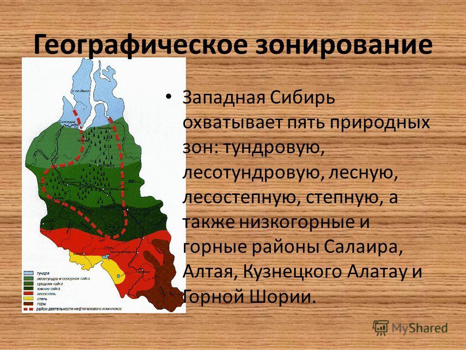 Западная Сибирь охватывает пять природных зон: тундровую, лесотундровую, лесную, лесостепную, степную, а также низкогорные и горные районы Салаира, Алтая, Кузнецкого Алатау и Горной Шории.
