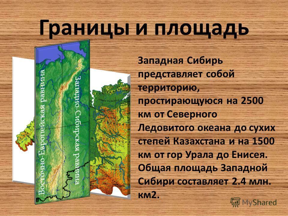 Границы и площадь Западная Сибирь представляет собой территорию, простирающуюся на 2500 км от Северного Ледовитого океана до сухих степей Казахстана и на 1500 км от гор Урала до Енисея. Общая площадь Западной Сибири составляет 2.4 млн. км2.