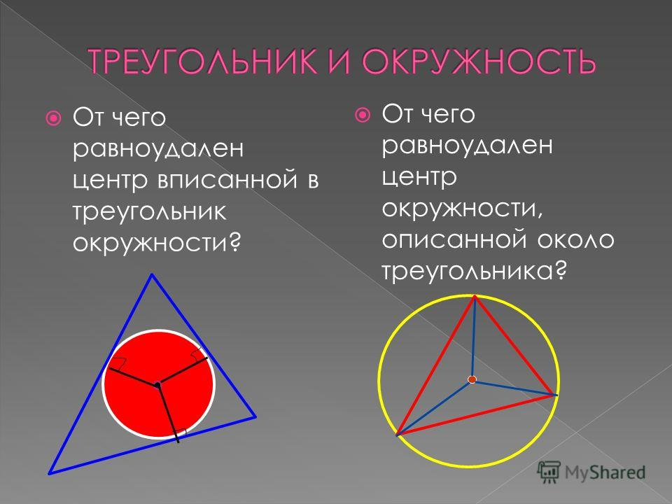 От чего равноудален центр вписанной в треугольник окружности? От чего равноудален центр окружности, описанной около треугольника?
