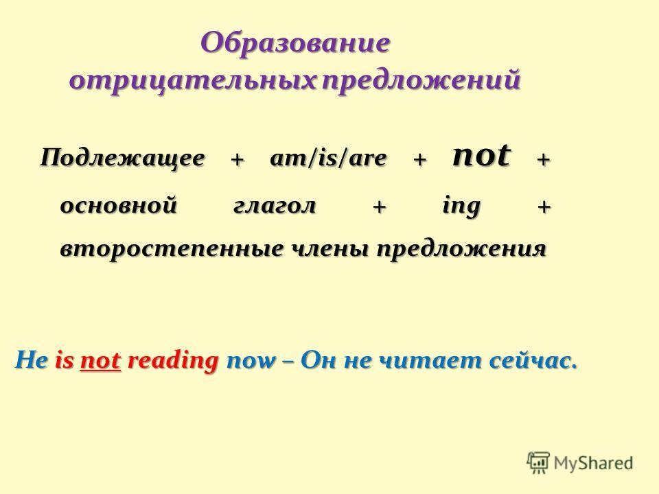 He is not reading now – Он не читает сейчас. Образование отрицательных предложений Подлежащее + am/is/are + not + основной глагол + ing + второстепенные члены предложения