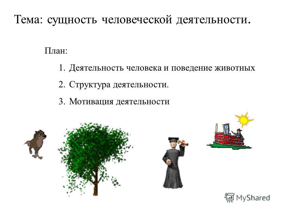 План: 1.Деятельность человека и поведение животных 2.Структура деятельности. 3.Мотивация деятельности Тема: сущность человеческой деятельности.
