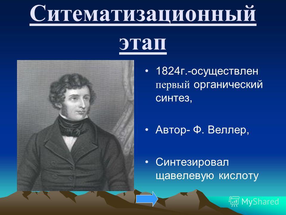 Ситематизационный этап 1824г.-осуществлен первый органический синтез, Автор- Ф. Веллер, Синтезировал щавелевую кислоту